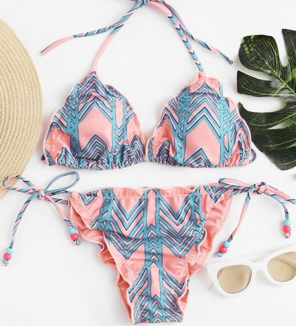 Ruffle Strap Textured Bikini Set