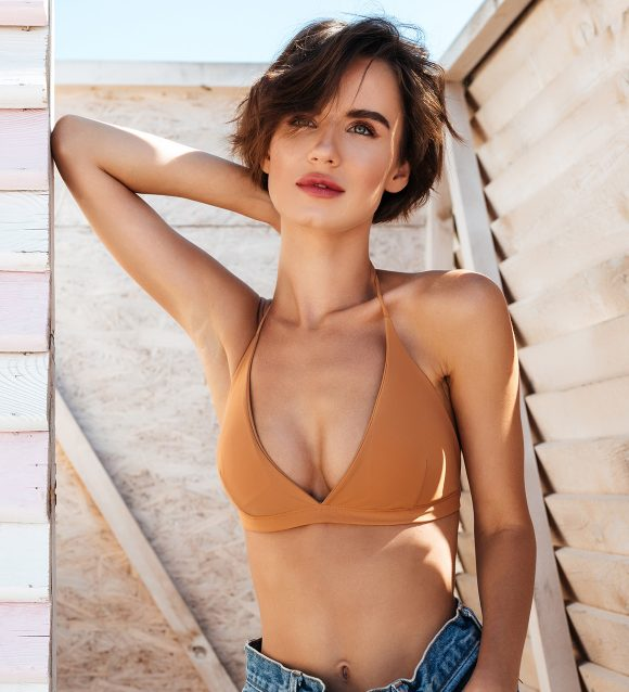 Swimwear Crop Bikini Top in Terracotta