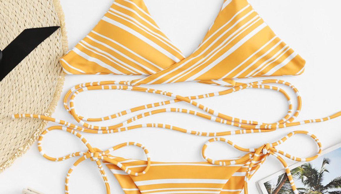 Yellow Striped Bikini Set