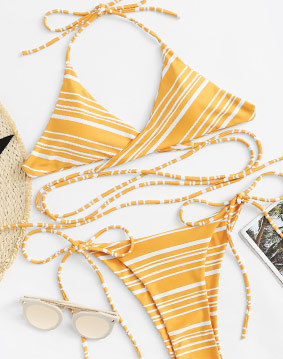 Yellow Striped Bikini Set
